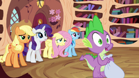 Applejack, Rarity, Fluttershy, Rainbow and Spike standing S3E01