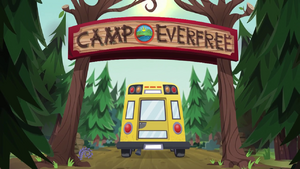 CHS bus drives through the Camp Everfree entrance EG4