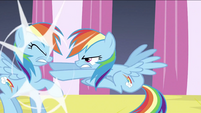 Changeling Rainbow pushing Rainbow Dash S2E26