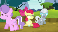 Diamond Tiara and Silver Spoon circle Apple Bloom S5E4
