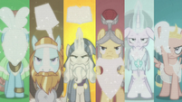 Pillars of Old Equestria on six-way split screen S7E25