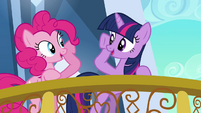 Pinkie Pie and Twilight about to brohoof S3E1