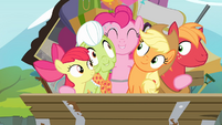 Pinkie hugging all of the Apples S4E09