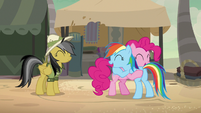 Rainbow Dash and Pinkie Pie hugging excitedly S7E18