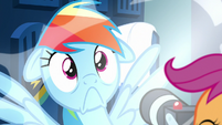 Rainbow surprised by Scootaloo's camera flash S7E7