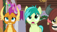 Smolder, Sandbar, and Yona look at ruined tree S8E16