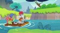 Star Swirl and Tree Hugger on a raft S8E16