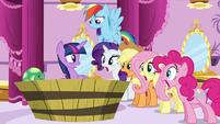 Twilight's friends stare at her with mouths agape S5E13