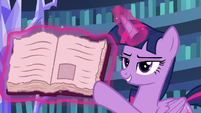 Twilight Sparkle pointing to a friendship journal entry S7E14