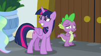 Twilight and Spike looking awkward S8E7