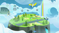 Wonderbolts flying around the Academy S7E23