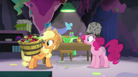 Applejack holding a basket of apples S7E23