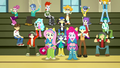 Fluttershy, Pinkie, and students cheer softly SS4.png