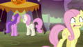 Fluttershy backing away; Amethyst Star & Twinkleshine giggle S5E21.png