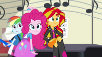 Pinkie and Sunset look toward Rarity EG2