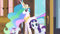 Princess Celestia entering room with Rarity and Opal S2E09.png