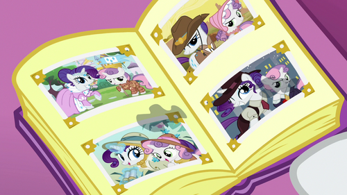 Rarity and Sweetie Belle's tear-stained photo album S7E6