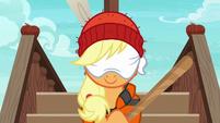 Applejack wearing a blindfold S6E22