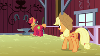 Big Mac working on an anvil; Applejack calls his name S5E17