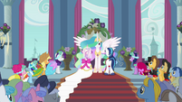 Celestia with Cadance and Shining Armor S2E26