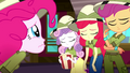 Crusaders sadly shake their heads at Pinkie Pie SS11.png