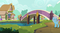 Fluttershy and Angel walk through Ponyville S9E13