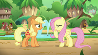 Fluttershy laughs at Applejack's joke S8E23