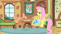 Fluttershy sitting like a person S1E22.png