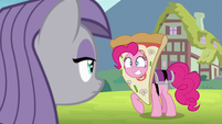 Pinkie Pie grinning wide at Maud Pie S7E4