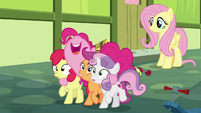 Pinkie Pie hugging the Crusaders S8E12