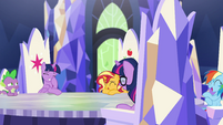 Ponies laughing at Spike's story EGSB