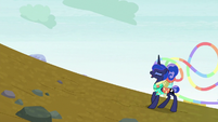 Princess Luna climbing the steep hill S9E13