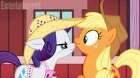 Rarity and Applejack looking at each other promotional S4E13