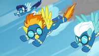 Spitfire notices Rainbow Dash on the ground S6E7