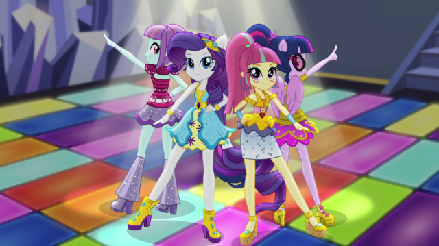 File:Sunny Flare, Rarity, Sour Sweet and Twilight on dance floor EGS1.png