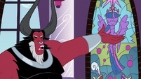 Tirek pointing at stained glass window S4E26