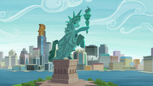 A statue inspired by the Statue of Liberty S6E3