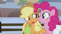 "Applejack whispering ""so far, so good"" S5E20"