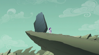 Filly Rarity pushing the dumb rock off the cliff S5E25