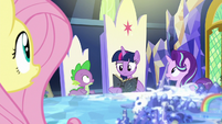 Fluttershy, Spike, and Starlight notice a bright light S7E25