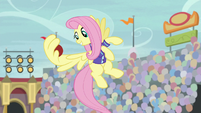 Fluttershy catches buckball in her wing S9E6