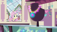 Fluttershy looking in a jewelry store window MLPBGE