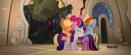 Mane Six and Spike hug on the balcony MLPTM
