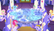 Mane six looking at the map S5E1