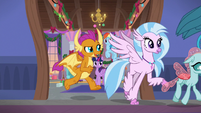 Ocellus, Silverstream, and Smolder leave the lounge S8E16