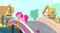 Pinkie Pie stepping onto a bridge S4E12