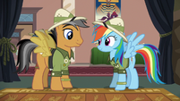 Quibble Pants and Rainbow Dash dressed as Daring Do S6E13
