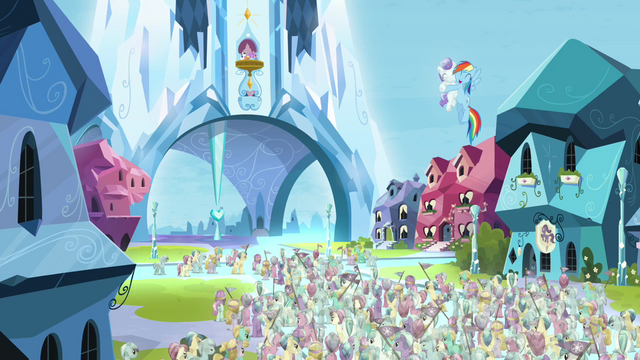 File:Rainbow Dash hugging the Crystal filly S03E12.png