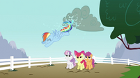 Rainbow Dash kicking cloud S2E23