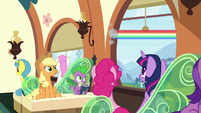 Rainbow Dash speeds out train window S9E26